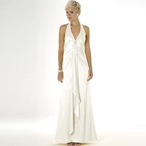 Ivory Halter Charmeuse Dress - Bridal, Wedding, Party, Formal Gown by Sean Collection (448)