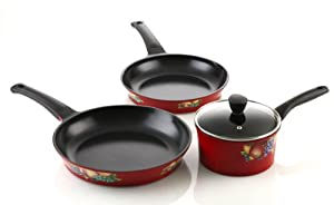 Amore Kitchenware Flamekiss Ceramic Nonstick 4-piece Starter Cookware Set by Amor?, 2-quart Saucepan w/Glass Lid & 2 Fry Pans, Elegant Design, Nan at Sears.com