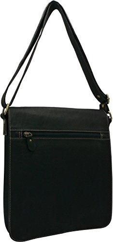 Leather Messenger Bag - Vertical Laptop Briefcase Shoulder Slingbag (Black) (Messenger Bag Jack Bauer compare prices)