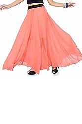 Ishin Faux Georgette Women's Skirt (Indwt-122_Xl _Pink _X-Large)