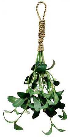 "Artificial Silk Green Mistletoe with white berries and has a natural jute cord hanger for easy display. Size: 10"" long"