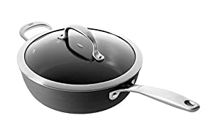 OXO Cookware Good Grips Non-Stick Pro Dishwasher Safe Covered Saucepan, 3-Quart, Gray