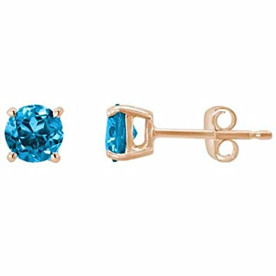 Ryan Jonathan Blue Topaz Stud Earrings in 14K Rose Gold (5 mm)