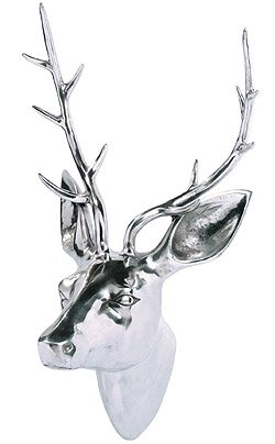 Aluminum Wall Mounted Stag's Head Large