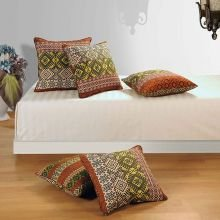Swayam Drape And Dream Cotton 5 Piece Cushion Cover Set - Rust Multi (CC125-1406)