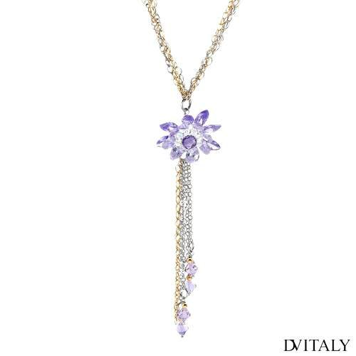 DV ITALY Sterling Silver 32.1 CTW Cubic Zirconia and Crystal Ladies Necklace. Total Item weight 20.6 g.
