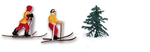 Cakesupplyshop Item#457u - Mini Skiers Cake Topper Decoration