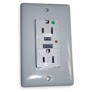 Gfci Receptacle, 15A, Hospital, Led, Gray