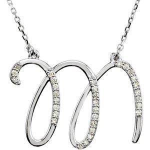 Diamond Initial Letter 'M' Rhodium-Plated 14k White Gold ...