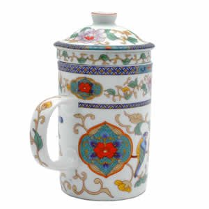 Porcelain Tea Cup - Strainer - Nature - Bird