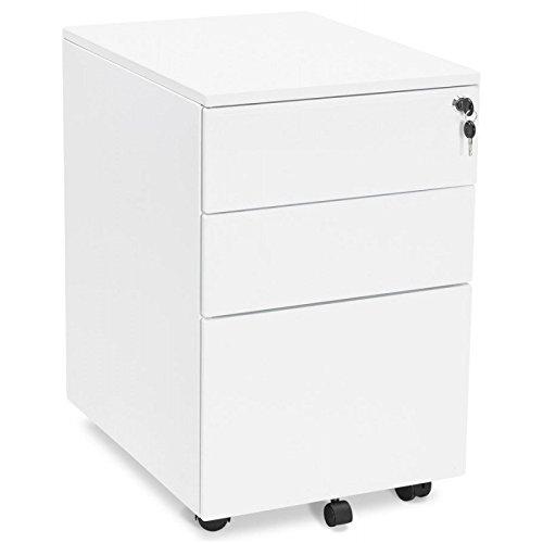 Office Mobile 3 cassetti MATHIAS (bianco) di design metallo