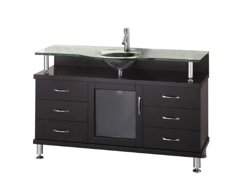 virtu usa ms 55 g es vincente 55 inch single sink bathroom vanity with tempered glass countertop. Black Bedroom Furniture Sets. Home Design Ideas