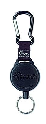 KEY-BAK #488B Retractable Reel with 48 inch (120 cm) Kevlar Cord, Durable Polycarbonate Case, Zinc Alloy Carabiner, Split Ring