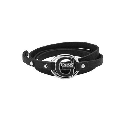 e6cb7eaed8bd GUESS - Bracelet femme GUESS cuir noir triple tour logo G pop UBB12234