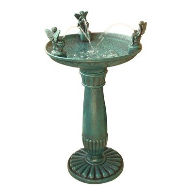 Alpine Trio Of Angels Resin Outdoor Bird Bath Fountain