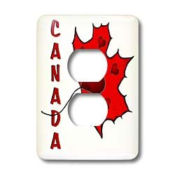 SmudgeArt Canada Art Designs - Canada - Maple Leaf - Hearts - Light Switch Covers - 2 plug outlet cover