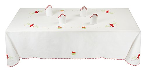 Tovaglia Natalizia Bianca Linea Cadeau de Noel 100% Puro Cotone 155x220cm