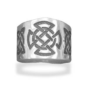Sterling Silver Oxidized Celtic Design Cigar Band / Size 10