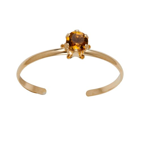 14k Yellow Gold Round Genuine Citrine Children's Buttercup Adjustable Ring (3mm )