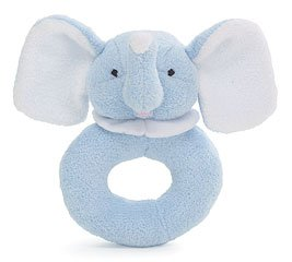 Blue Elephant Doughnut Shaped Plush Rattle
