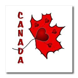 Canada - Maple Leaf - Hearts - 10x10 Iron On Heat Transfer For White Material