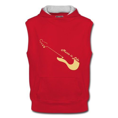 Spreadshirt, music, Men's Sleeveless Hoodie, red/ash, M