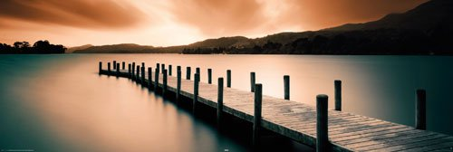 Empire 394002 Motivational - Wooden Landing Jetty - Türposter Poster Sonnenuntergang - Grösse 158 x 53 cm