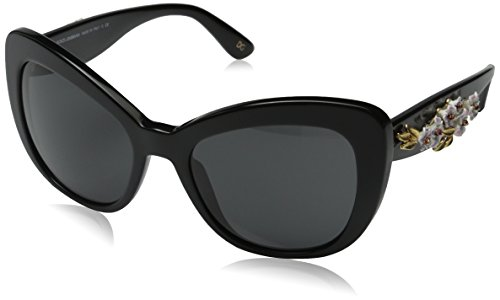 D&G Dolce & Gabbana Women's Almond Flowers Square Sunglasses, Black & Gray, 54 mm