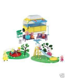 PEPPA PIG'S HOLIDAY PLAYSET INC 10 FIGURES, CAMPERVAN, SLIDE, ROUNDABOUT