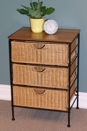 4D Concepts 3-Drawer Wicker Stand, Wicker/ Metal front-68754