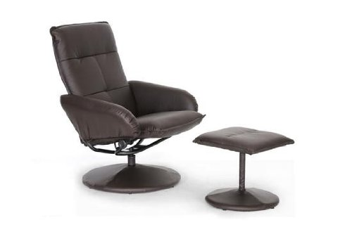 Baxton Studio Cooper Modern Recliner with Ottoman, Brown
