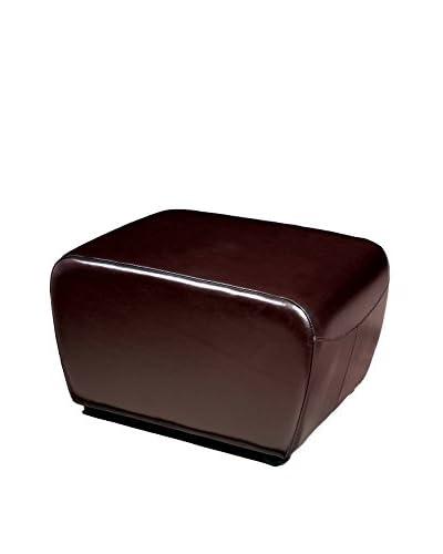 Baxton Studio Leather Ottoman, Dark Brown