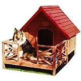 天然木豪華 テラス付 犬小屋 ドックハウスにすれば犬も元気満々犬の家 人間だけマイホームはずるい犬も豪華ドックハウスがほしい!!ペットハウス