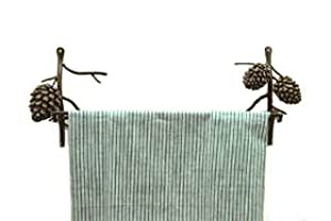 PINE CONE bath TOWEL BAR rack bathroom Lodge Metal NEW