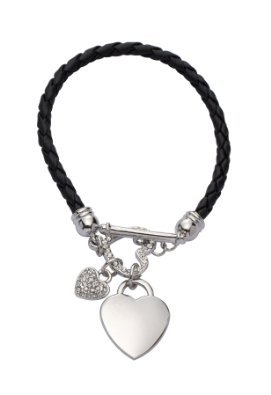Jodie Rose Swarovski (Swarovski) Crystal ☆ Heart on Imitation Black Leather Cord Bracelet of 20 cm ladies [parallel import goods]