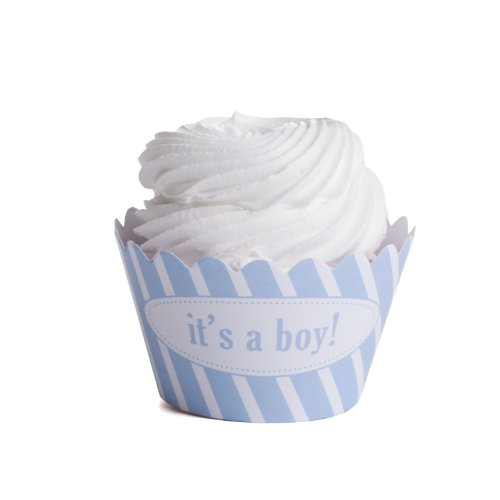 Dress My Cupcake Personalized Message Cupcake Wrappers, Striped, It'S A Boy, Set Of 12