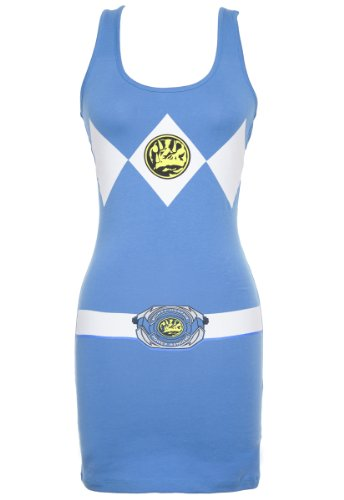 Mighty Morphin Power Rangers Juniors Sexy Tank Dress (Blue, X-Large)