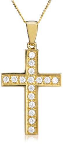 9ct Yellow Gold Cross Pendant on Adjustable Curb Chain Necklace 40cm/16