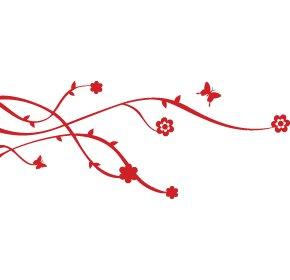 Casa decorazione disegno floreale con una farfalla, adesivi vinile, adesivi, H = 25cm, W = 50cm