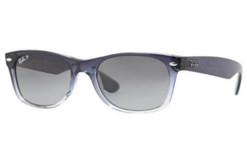 Ray-Ban New Wayfarer RB 2132 Sunglasses Blue Gradient on Transparent / Blue Grey Gradient Polarized 55mm