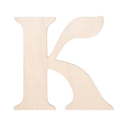 Darice 9130-K Fancy Wood Cutout, Letter K, 5-Inch