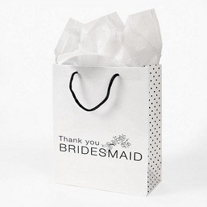 Fun Express Lot of 12 White Paper Thank You Bridesmaid Wedding Bridal Party Gift Bags