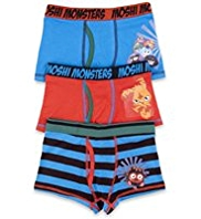 3 Pack Cotton Rich Moshi Monsters Trunks