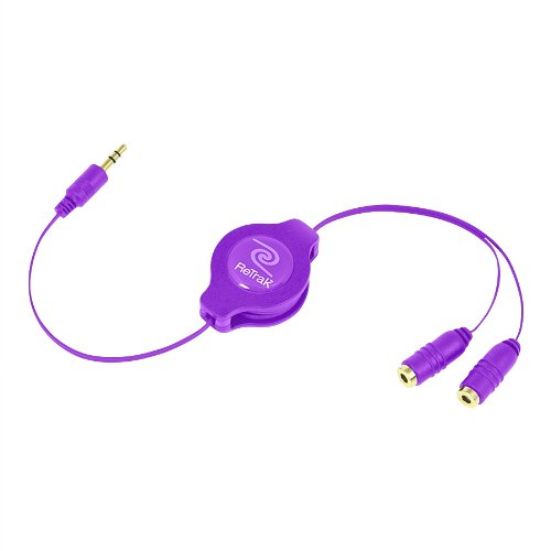 Retrak Retractable Headphones Splitter, Purple ( Etcablesplrl)