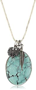 M.Cohen Handmade Designs Chunky Turquoise Charm On Sterling Silver Beaded Necklace
