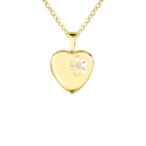Gold over silver 0.01ct White Diamonds Heart Shaped Locket w/ Dia & Flower Necklace (G-H, SI1-SI2)