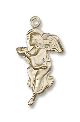 Gold Filled Guardian Angel Medal Pendant Charm with 18