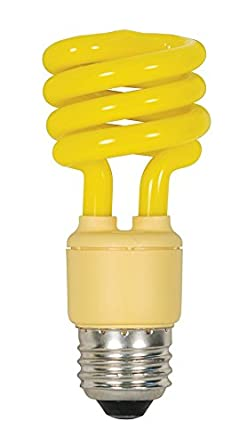 Satco 13T2/Bug Energy Saving Compact Fluorescent Yellow BUG Light Bulb - CFL 13W (60W Tungsten equivalent) E26 - Set of 4
