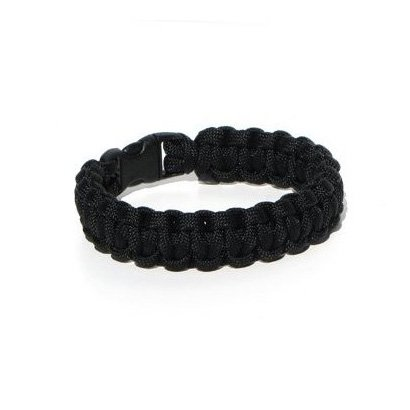 SODIAL- Paracord Survival Bracelet Black 8 inches