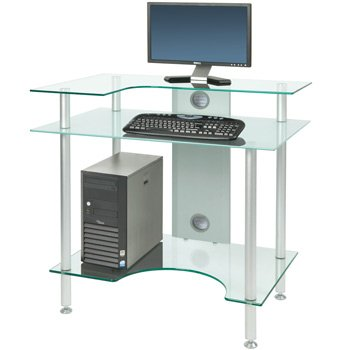 PC002 SRF - Small Rectangular Frosted Glass Computer Desk